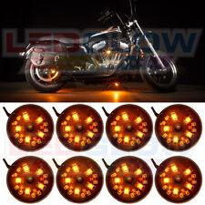 LEDGLOW 8PC ORANGE LED POD MOTORCYCLE ACCENT NEON LIGHTING KIT w POWER SWITCH