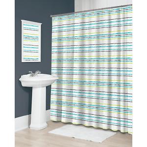 New Splash Bath PEAVA Shower Curtain LINOT Horizontal Stripes ~ Blue, Green, Blk