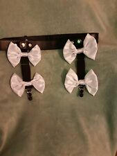 Black Leather Sissy suspenders with white satin Bows