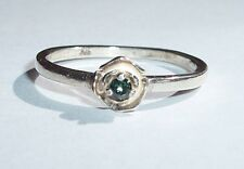 TINY 2.2mm REAL GREEN DIAMOND USA Made Sterling Rose Ring sz 6.5