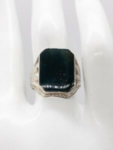 Antique 1920s Signed IC & S 10ct BLOODSTONE 14k White Gold MENS BAND RING