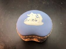 2x3 inch lidded box in wedgwood light blue jasperware, kidney shape pegasus top