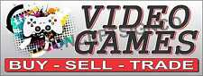 3'X8' VIDEO GAMES BANNER Sign LARGE Buy Sell Trade Console Systems Pawn Xbox NES