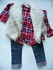Toddler Girls' Little Lass Plaid Shirt, Vest, Jeggings Super Cute! Size 3T Euc