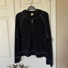 J Jill Petite Large Black Hoodie, Full Zip, Pockets, White Stitching, Relaxed