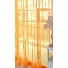 Orange Floral Tulle Voile Door Window Curtain Drape Panel Sheer Scarf Divider GA