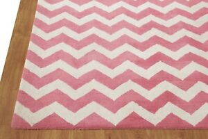 Chevron Zig Zag Pink White Modern Hand-Tufted 100% Wool Soft Area Rug Carpet.