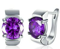 1.50 CT  Natural Brilliant Round Amethyst Leverback Earrings in 18K White Gold