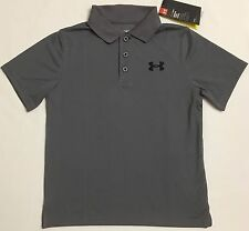 NWT youth Boys' YMD medium UNDER ARMOUR knit POLO heatgear GOLF shirt Gray