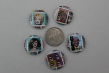 1 inch pins / buttons / badges - set of 5 -pop art (Obama) - NEW