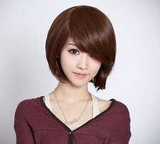 New Fashion Short Brown Straight Womens Bob Hair Full Wigs Wig Cosplay Party