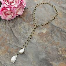52'' Onyx White Keshi Pearl  Long Necklace