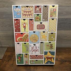 "Advent Calendar Wooden Frame With 25 Cardboard Drawers White Trim 15""x10"" Sturdy"
