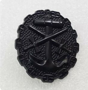 WWII German Naval Wound, Black Badge Order medal Pin Replica