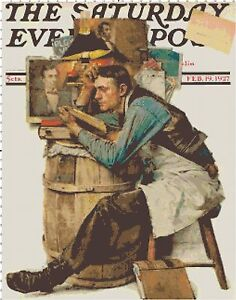 Vintage Saturday Evening Post The Law Student Cross-Stitch Pattern