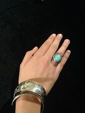 Ring Big Silver Turquoise Hippie Boho  Gypsy Bohemian Tribal R1018
