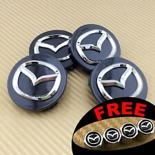 SET OF 4 BLACK FINISH CHROME LOGO ALLOY WHEEL CAP HUB CENTER 56mm 2.25""