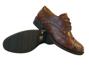 Womens Lace Up Shoes Size 4 Brogues Studded Flat Low Heel Burgundy Ladies NEW