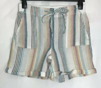 M&S Ivory Striped Linen Elasticated Waist Pocket Shorts New  8 - 24 (ms-285h)
