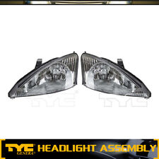 TYC 2pc Headlight Lamp Assembly Left Right Set For 2000-2002 Ford Focus(Base)