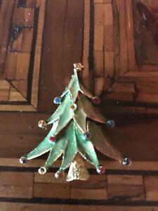Vintage Signed JJ Christmas Tree Brooch Spilla Albero di Natale