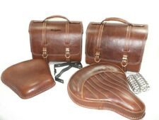 Fits Royal Enfield Classic Brown Leather Saddle Bag Front Rear Seat