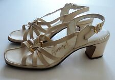 Vintage Penaljo Womens 7 1/2 M Beige Strappy Sandals Open Toe Slingback Shoes