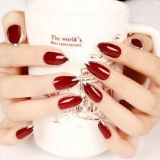 24pcs Vampire Queen Fake Nails Short Sharp Head Wine Red Sliver Side faux ongles