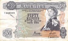 Mauritius  50  Rupees  ND. 1967   P 33c  Series C  Circulated Banknote L518F
