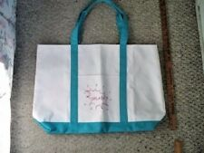 White Canvas Tote Bag with Turquoise Straps