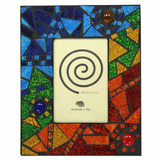 """Fair Trade Glass Photo Frame with Multi Coloured Abstract Mosaic Tiles - 4"""" x 6"""""""