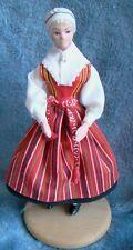 Swedish Leksand Wooden vintage folk costume Dalarna girl Doll Dockan Made Sweden