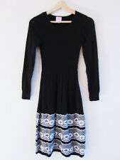 Leona Edmiston Sz XS Black White Floral Border Wool Blend Knit Long Sleeve Dress