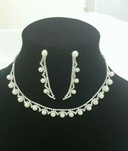 Women Fashion Silver Pearl And Diamonte Necklace Wedding, Party Wear UK Seller
