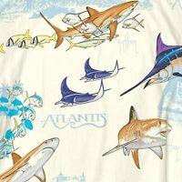 NEW Guy Harvey Atlantic Resort Fish Hawaiian Camp Shirt XL Shark Stingray Marlin