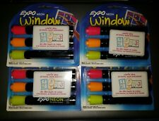 4 packs Expo NEON WINDOW Low Odor DRY ERASE 3 BOLD BULLET tip markers 1752225