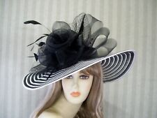 Black and Ivory Wide Brim Hat, Belmont, Church Hat, Wedding, Bridal, Tea Party