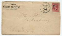 1894 Bellville Ohio county surveyor cover 2ct 1st bureau [H.51]