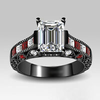 3.59ct White/Red Brilliant Emerald Cut Women's Black Engagement Wedding Ring