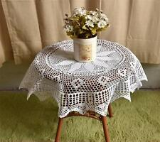 Vintage White Flower Hand Crochet Lace Table Cloth--Round