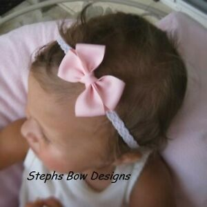 Soft Pink Dainty Hair Bow Lace Headband 4 Preemie Newborn Baby Toddler Easter
