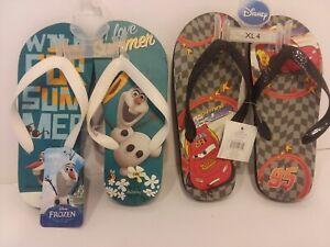 "2 Pair DISNEY'S FROZEN OLAF & CARS -McQueen Sandals/Flip-Flops Size XL 4- 8 1/2"""
