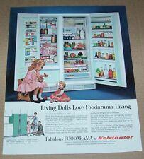 1963 print ad -Kelvinator Foodarama CUTE little girl doll family Refrigerator AD