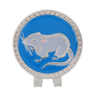 Alloy Creative Chinese Zodiac Mouse Golf Hat Clip Magnetic with Ball Marker