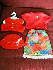 "18"" ( Doll Outfit) Skirt, Blouse, Crocheted Sweater & Hat with Cat Pin on Blouse"