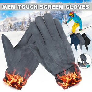 Mens Winter Gloves Suede Thermal Keep Warm Touch Screen Windproof Waterproof !
