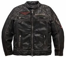 Harley Davidson Men's Annex Distressed Vintage Wash Leather Jacket. US L New !