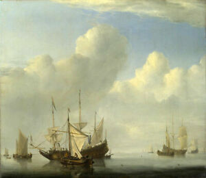 Oil painting willem van de velde the younger - A Dutch Ship coming to Anchor art