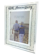 "60th Diamond Anniversary Crystal Mirrored Border Photo Picture Frame 5"" x 7"""