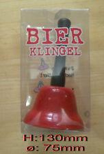 Tischglocke Metall rot mit schwarzem Text Bierklingel Stammtischglocke 130x75mm